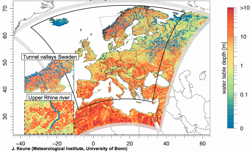 EU groundwater table depth snaphsot